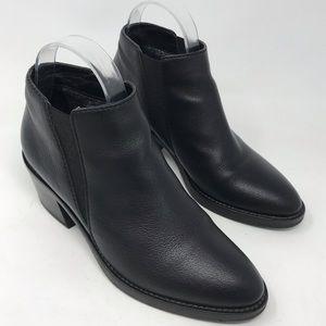 Aquatalia Black Leather Booties Ankle Boots Heel